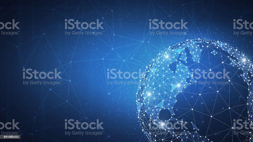 Blockchain technology futuristic hud banner vector art illustration