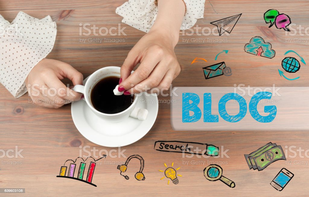 Blog concept. Coffee cup top view on wooden table background. vector art illustration