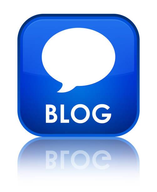 Bouton carré bleu spécial de blog (icône de conversation) - Illustration vectorielle