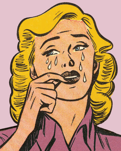 Blond Woman Crying Blond Woman Crying teardrop stock illustrations