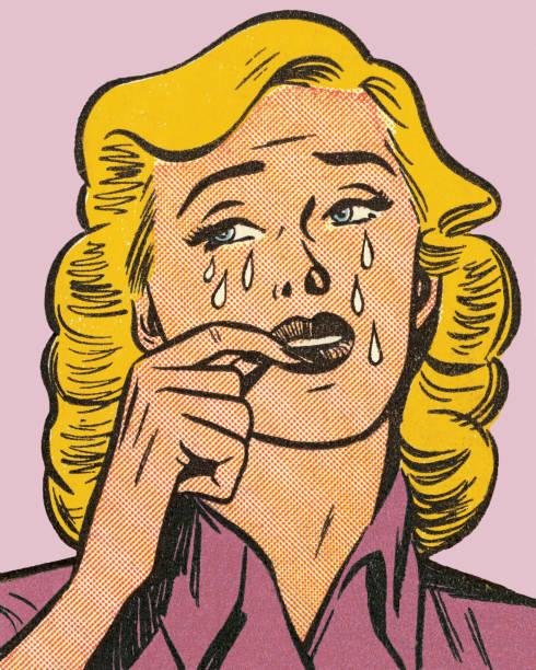 金髪の女性が泣いています。 - 泣く点のイラスト素材/クリップアート素材/マンガ素材/アイコン素材