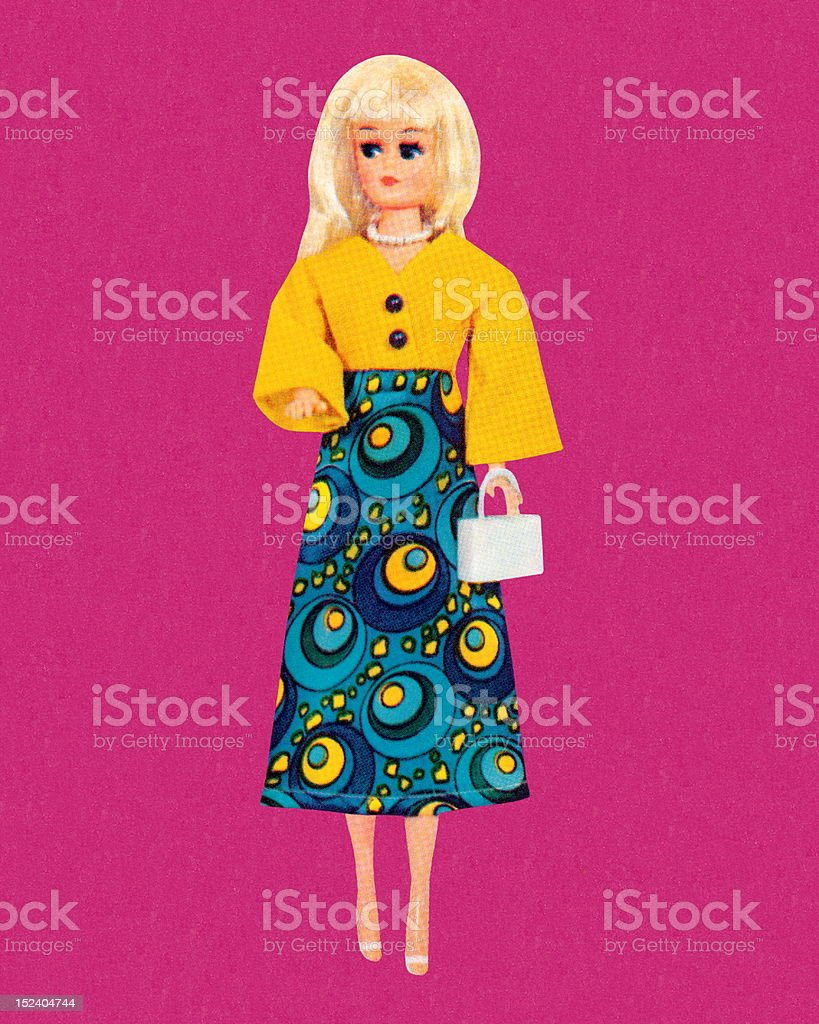 Blonde Fashion Doll Wearing Maxi Dress royalty-free stock vector art