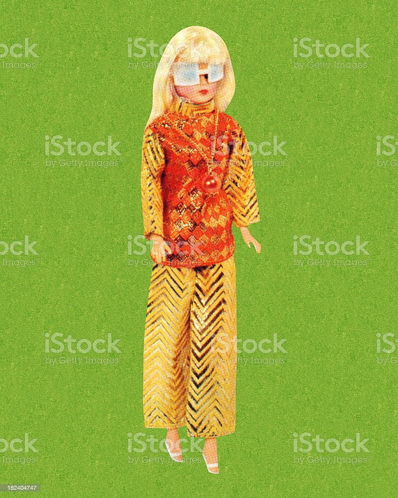 Blonde Fashion Doll Wearing Sunglasses vector art illustration