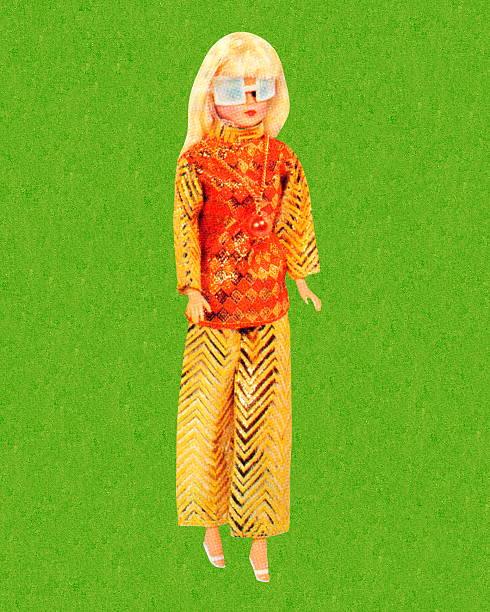 Rubia muñeca barbie lleva gafas de sol - ilustración de arte vectorial