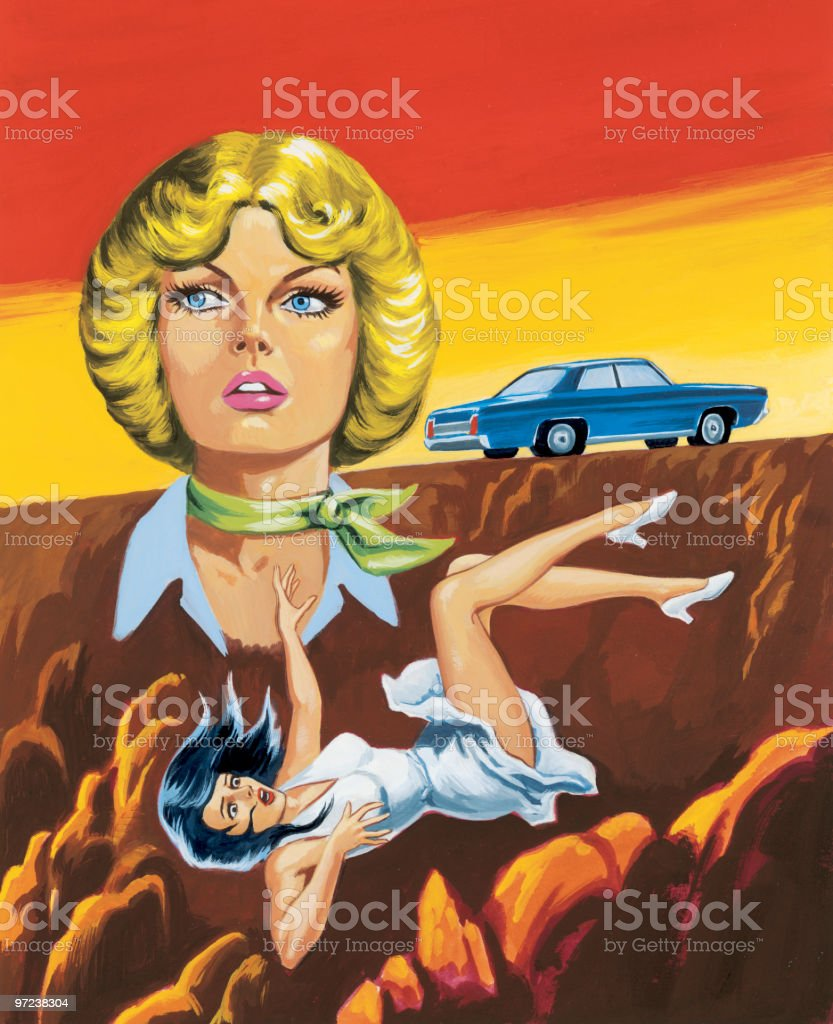 Blonde Woman With Woman Falling off Cliff vector art illustration