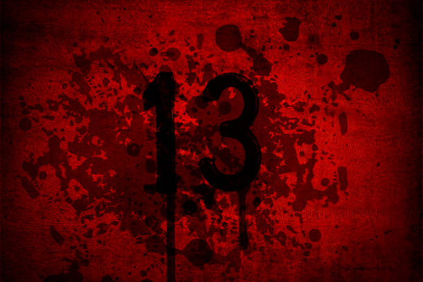 Blood and gore Thirteen Friday with 13th number on red background. vector art illustration