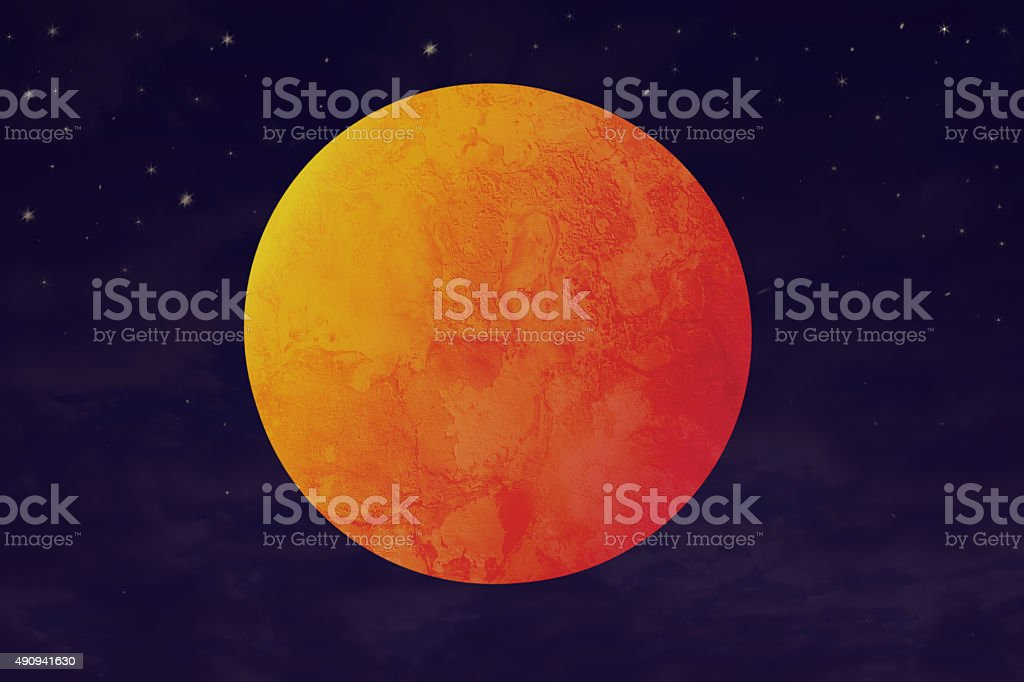 blood moon and red planet illustration vector art illustration