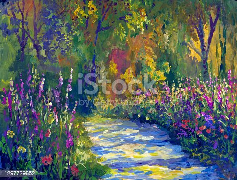 istock blooming alley in the park on a sunny day, painting in the style of impressionism 1297729652