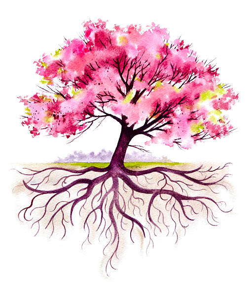 Blooming Family Tree with Roots vector art illustration