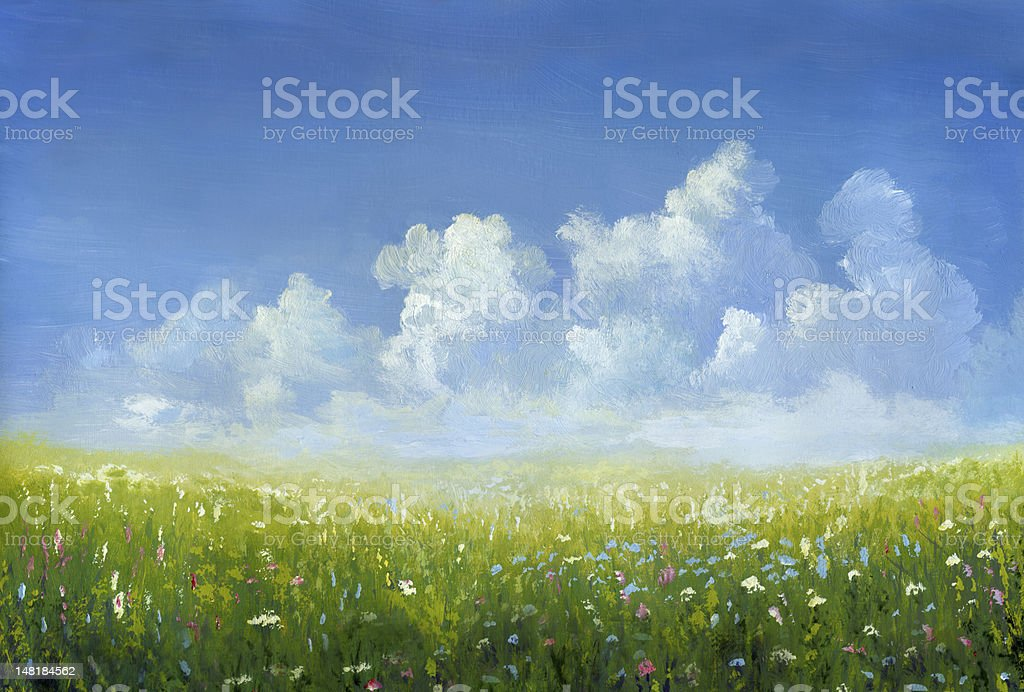 Blossoming meadow vector art illustration