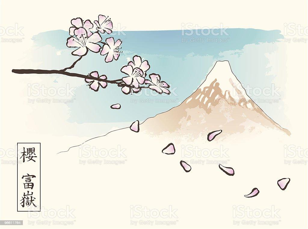 Blossoming Sakura Branch Below Mt. Fuji - Royalty-free Asia stock vector