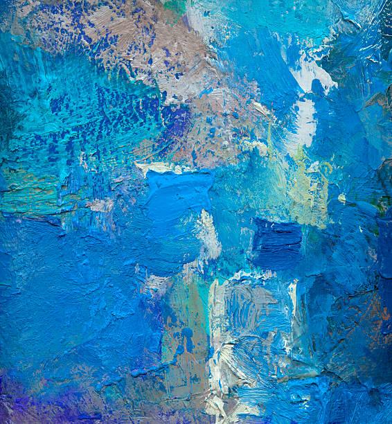 blue abstract oil painting on canvas – Vektorgrafik