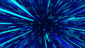 Blue abstract radial lines geometric background