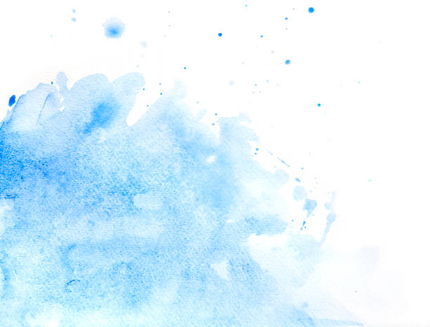 blue abstract watercolor of splashing water - watercolor background stock illustrations, clip art, cartoons, & icons