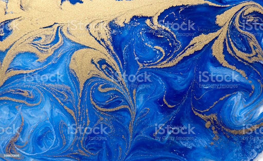 Blue and golden liquid texture, watercolor hand drawn marbling illustration vector art illustration