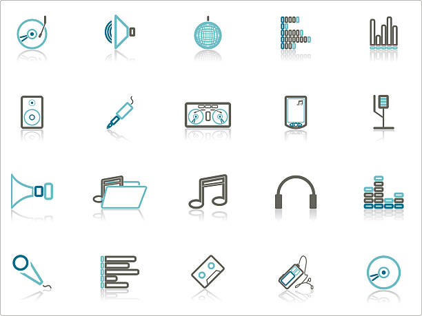 Blue and Gray Music Icon Set vector art illustration