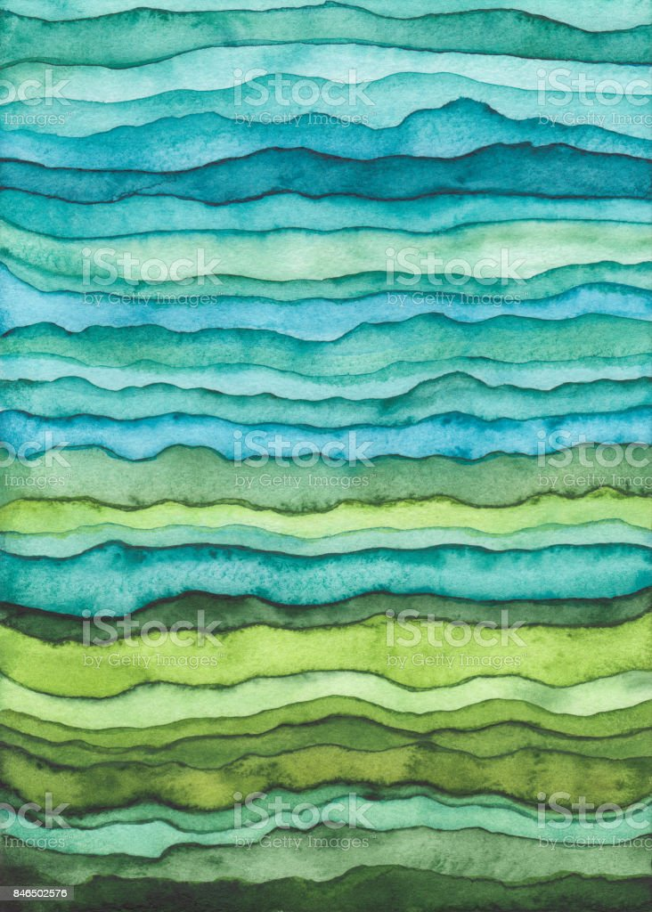 Blue and Green Waves. Hand Drawn Watercolor Background vector art illustration
