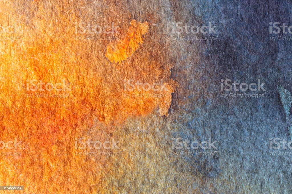 Blue and orange abstract watercolor background. vector art illustration