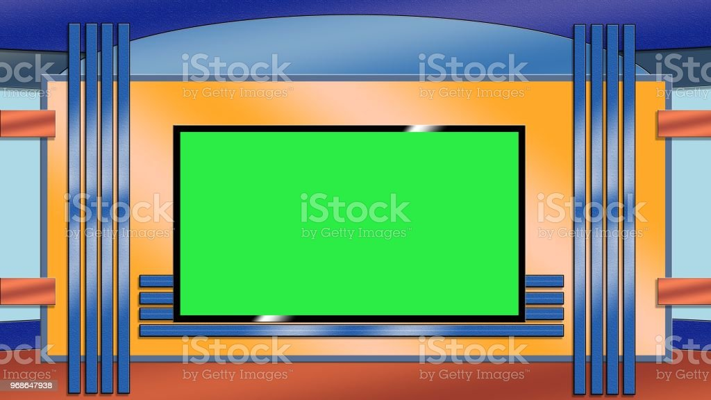 Blue And Orange Toned Tv Studio Background With Greenscreen