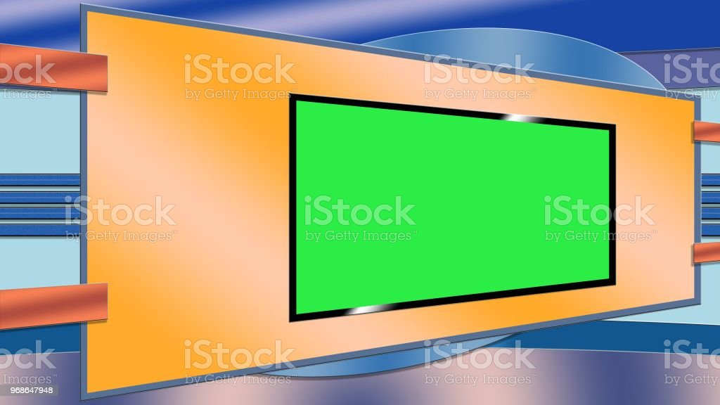 Blue And Orange Tv Studio Background With Greenscreen Stock
