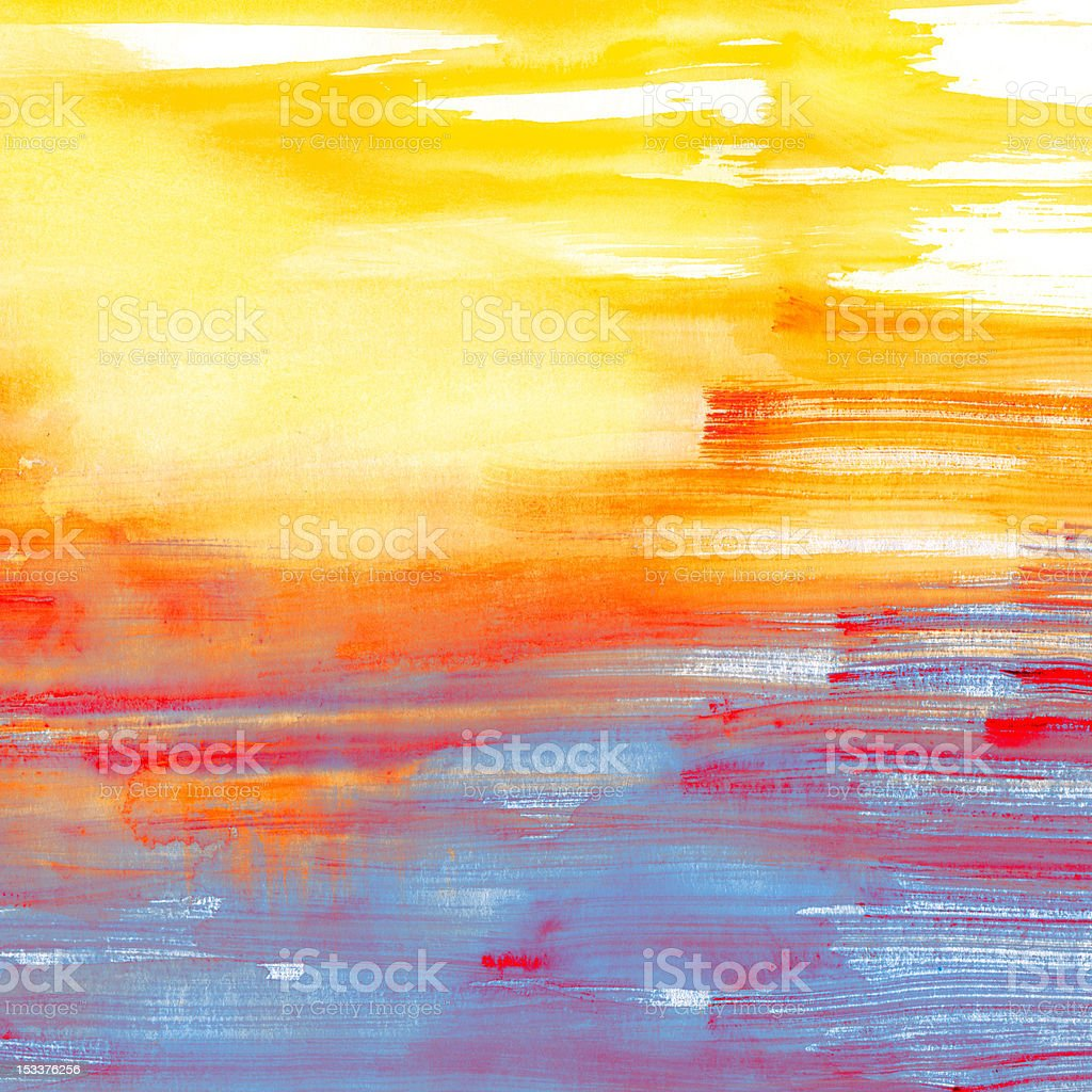 Blue and orange watercolor background royalty-free stock vector art