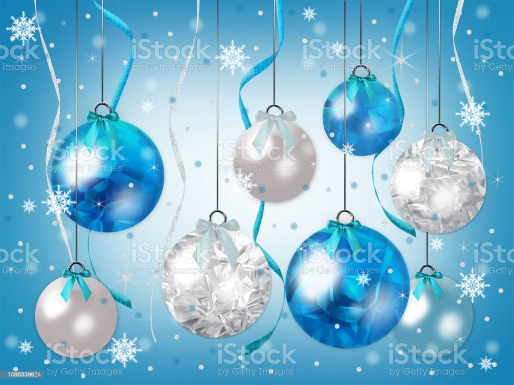 Blue And White Christmas Ornaments Hanging In Shades Blue With Snow Falling Graphic Illustration Background Stock Illustration Download Image Now
