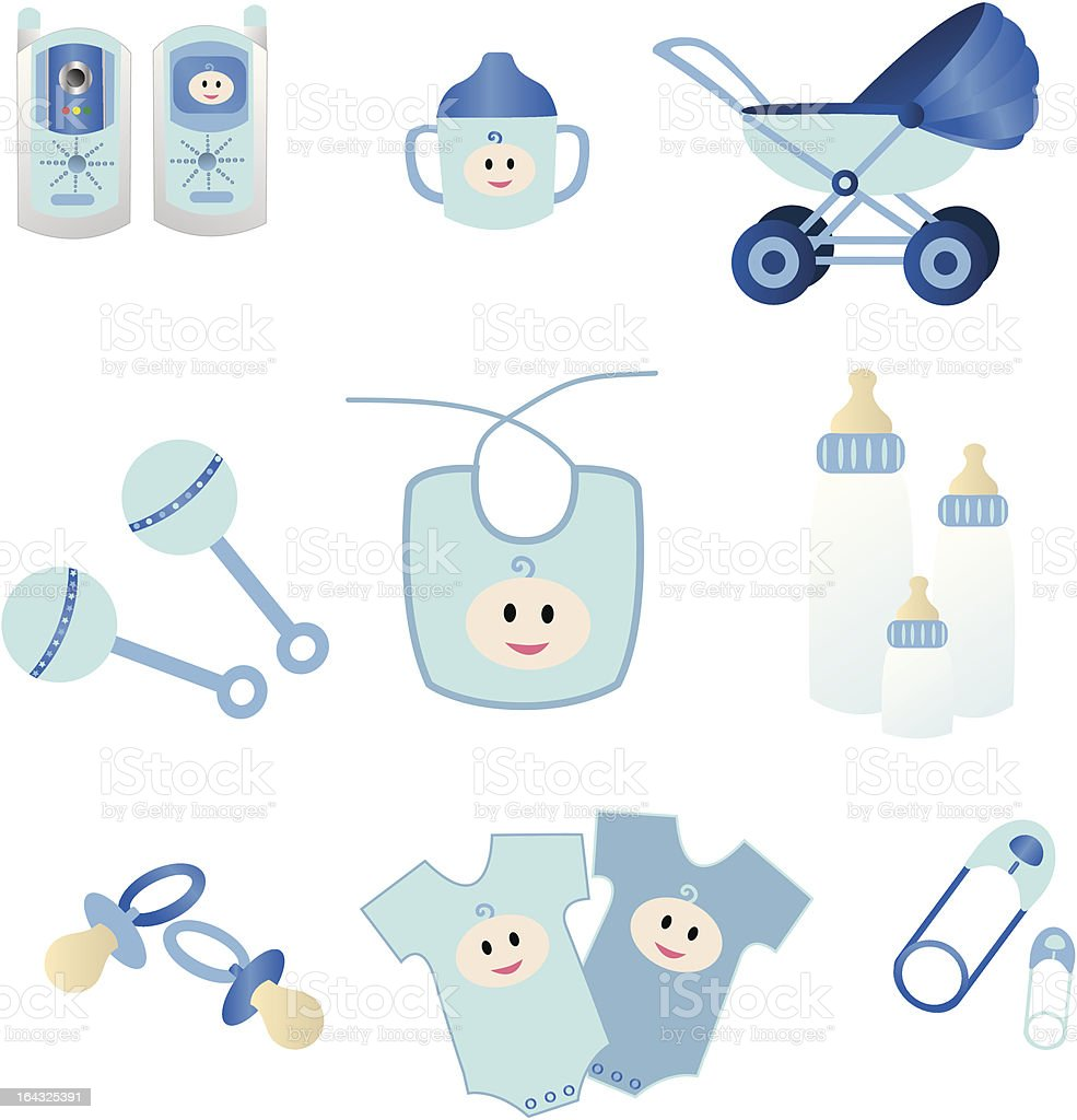 Blue Baby Icons royalty-free stock vector art