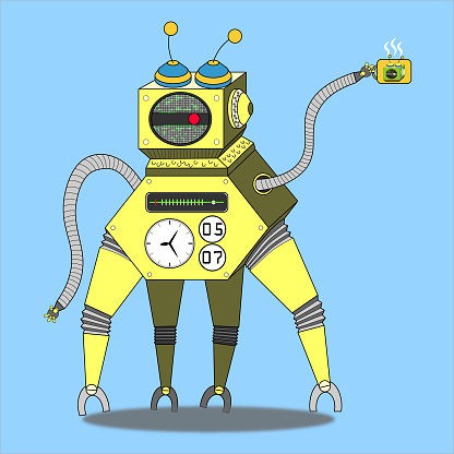 blue background yellow robot hold a teacup illustration