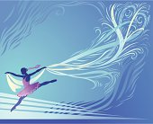 Illustration of Ballerina's Silhouette on Blue Background. She is Dancing with a Long Decorative Veil. High resolution JPG and Illustrator 0.8 EPS included.