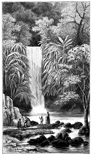Blue Basin Waterfall at Diego Martin on the Island of Trinidad in Caribbean - 19th Century
