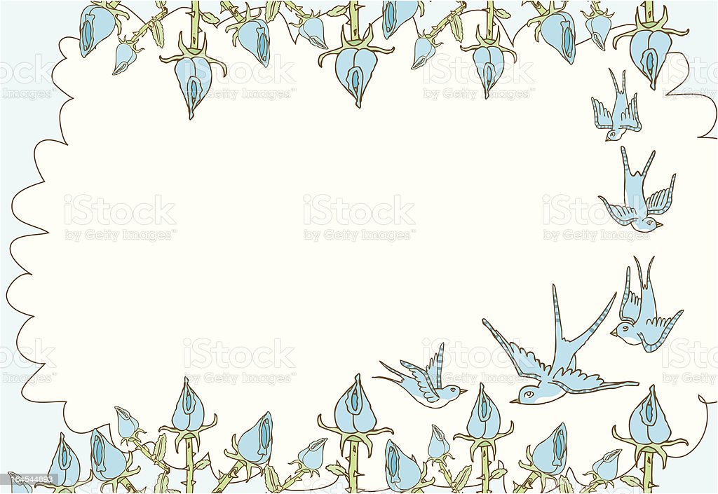 Blue Bird and Floral Frame royalty-free stock vector art
