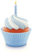 Vector illustration of blue birthday cupcake with burning candle.