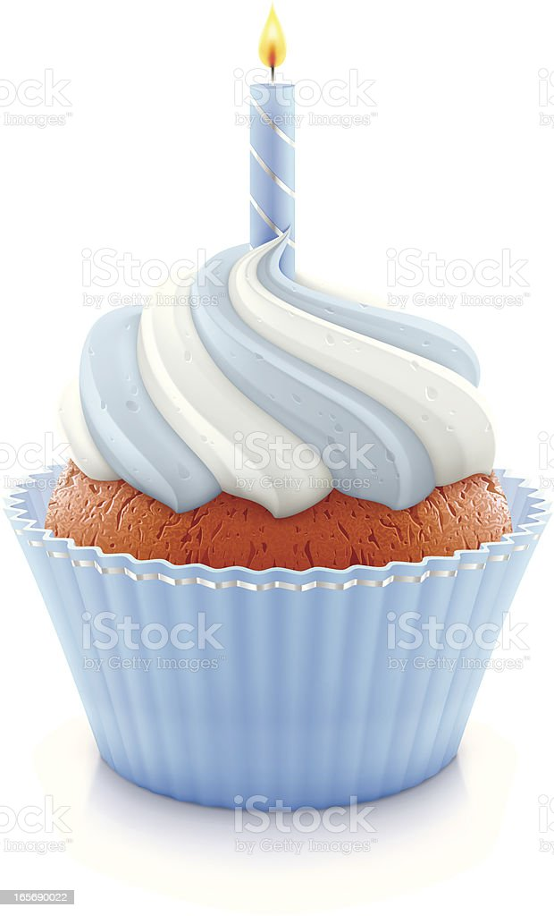 Blue birthday cupcake vector art illustration