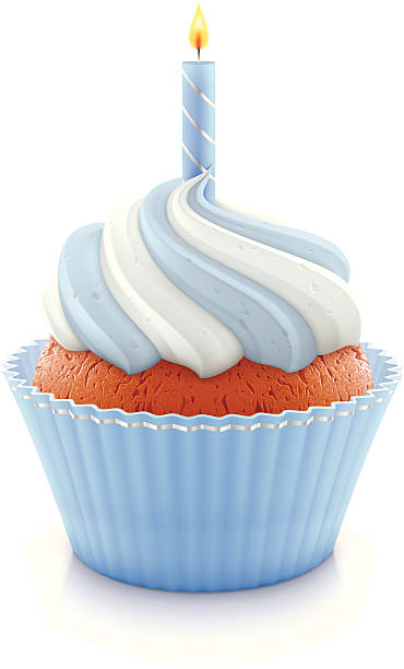 Blue birthday cupcake Vector illustration of blue birthday cupcake with burning candle. cupcake stock illustrations