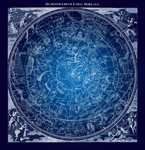 ilustrações de stock, clip art, desenhos animados e ícones de blue boreal constellations illustration - mapa das estrelas