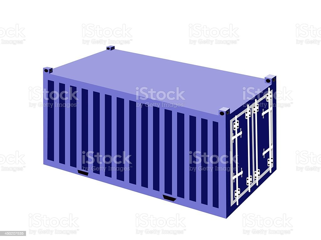 Blue  Cargo Container on White Background royalty-free stock vector art