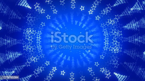 istock Blue Christmas greeting card graphic template background. 1279765384