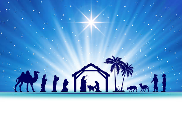 Blue Christmas Nativity scene background Nativity scene in the desert setting, abstract style. Figures are in dark blue silhouette against blue starry and white background, with comet star and light beam. Figures are made in Inkscape and applied to illustration in Photoshop. nativity silhouette stock illustrations