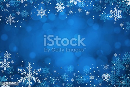 istock Blue Christmas snowflakes background 1176207021