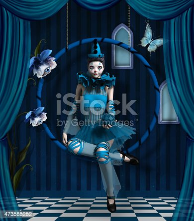 Blue clown in a surreal scenery