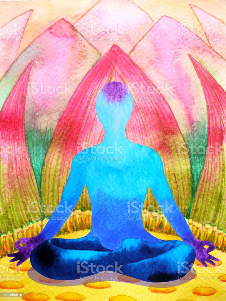 Blue color chakra human lotus pose yoga abstract world universe inside your mind mental