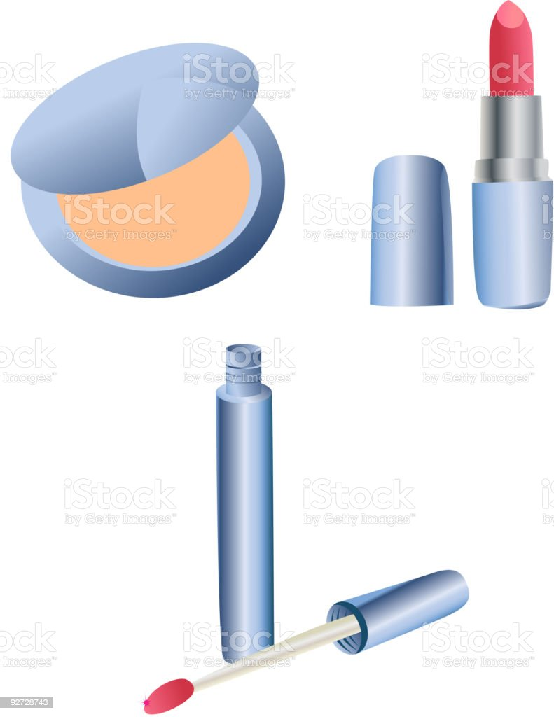 Blue cosmetic set royalty-free stock vector art