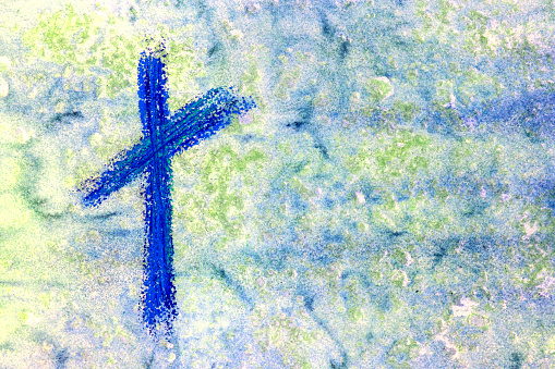 Blue Cross with blue and green watercolor background