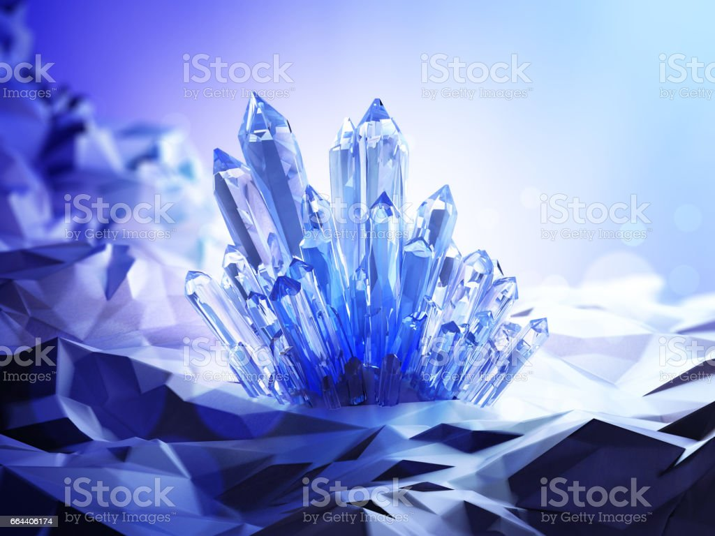 A blue crystal with a magical glow around in a mysterious cave. 3D illustration. vector art illustration