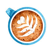 Blue watercolor cup of coffee with latte art isolated on white background - top view. Hand-drawn illustration. Perfect for your project, cards, print, covers or menu.