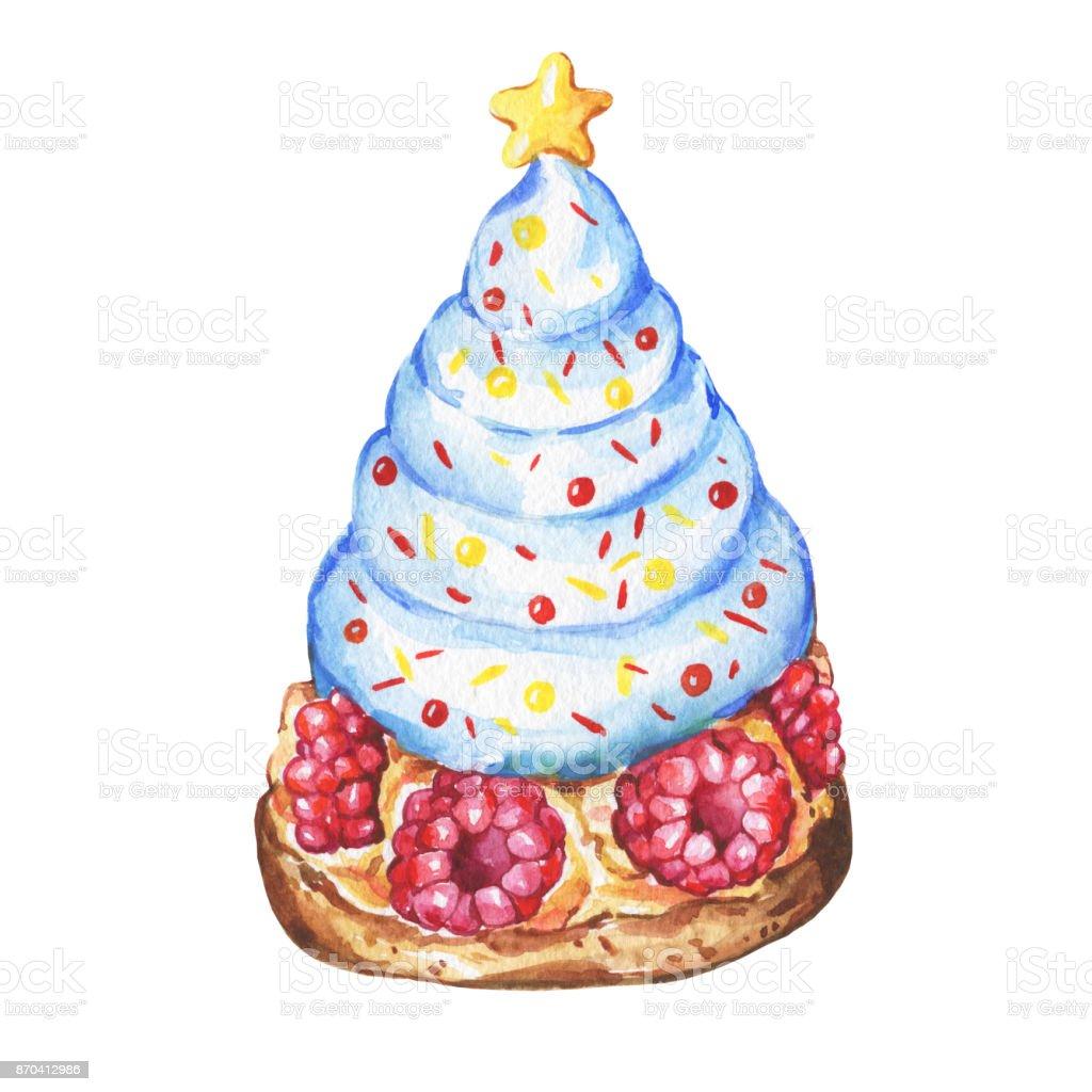 Blaue Cupcake Mit Einem Weihnachtsbaum Himbeeren Winterurlaub