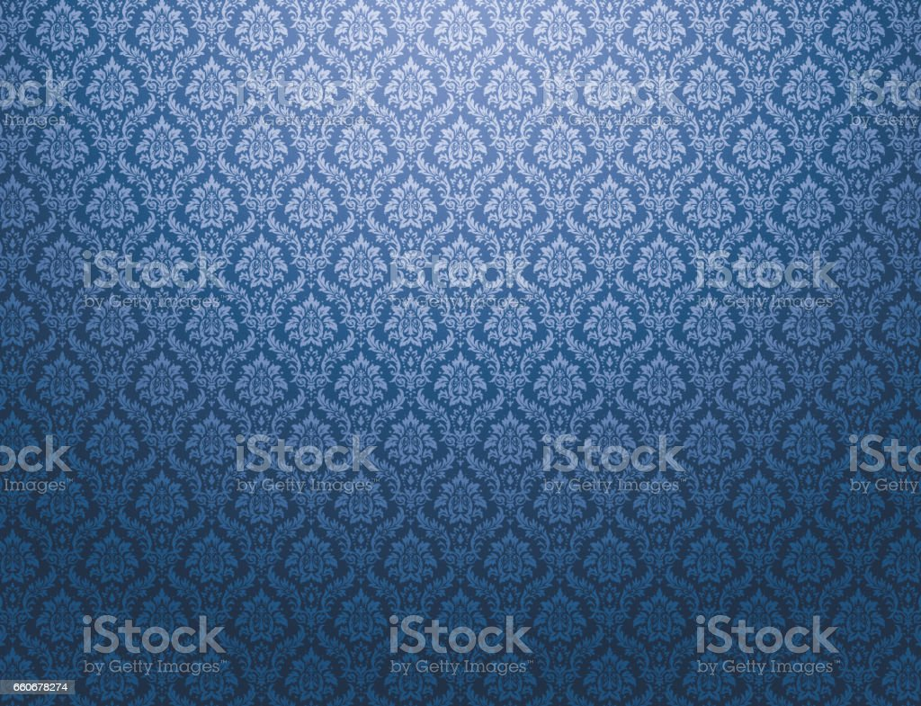 Blue damask pattern background - ilustración de arte vectorial