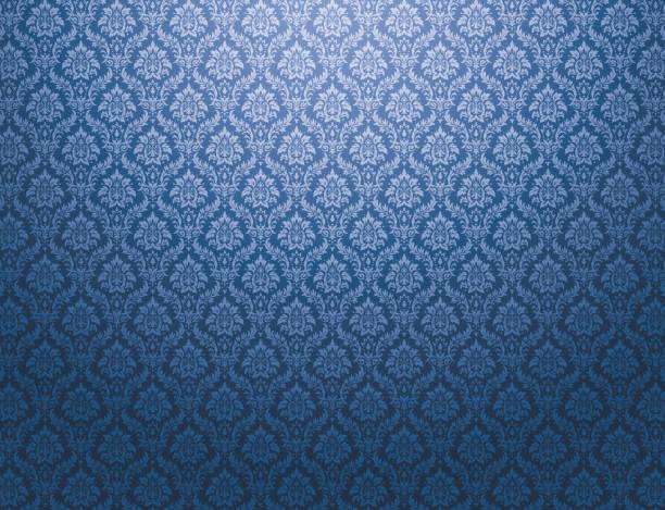 Blue damask pattern background vector art illustration