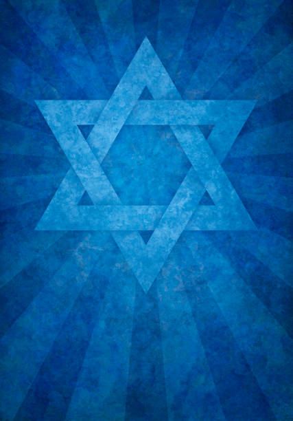 blue david's star on grunge background blue david's star on grunge background star of david stock illustrations