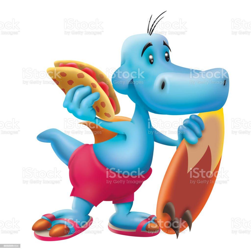 Blue dinosaur the surfer with quesadilla vector art illustration